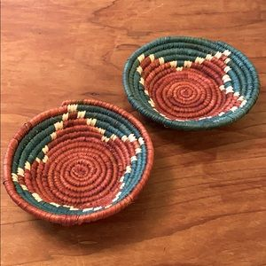 2 small woven baskets in teal/brick colour way